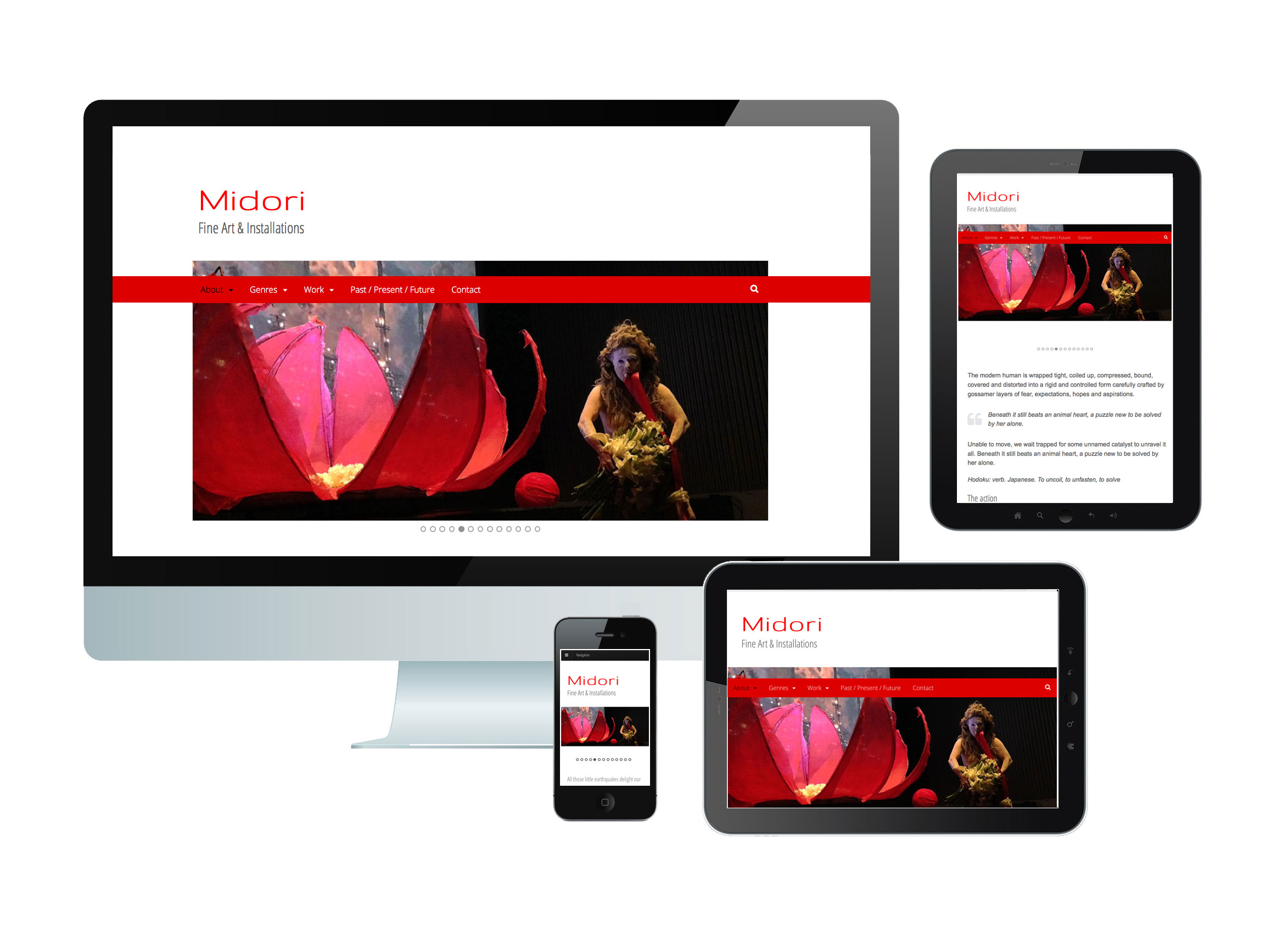 Midori website on mobile, tablet and desktop