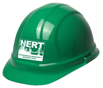 Green NERT helmet with logo