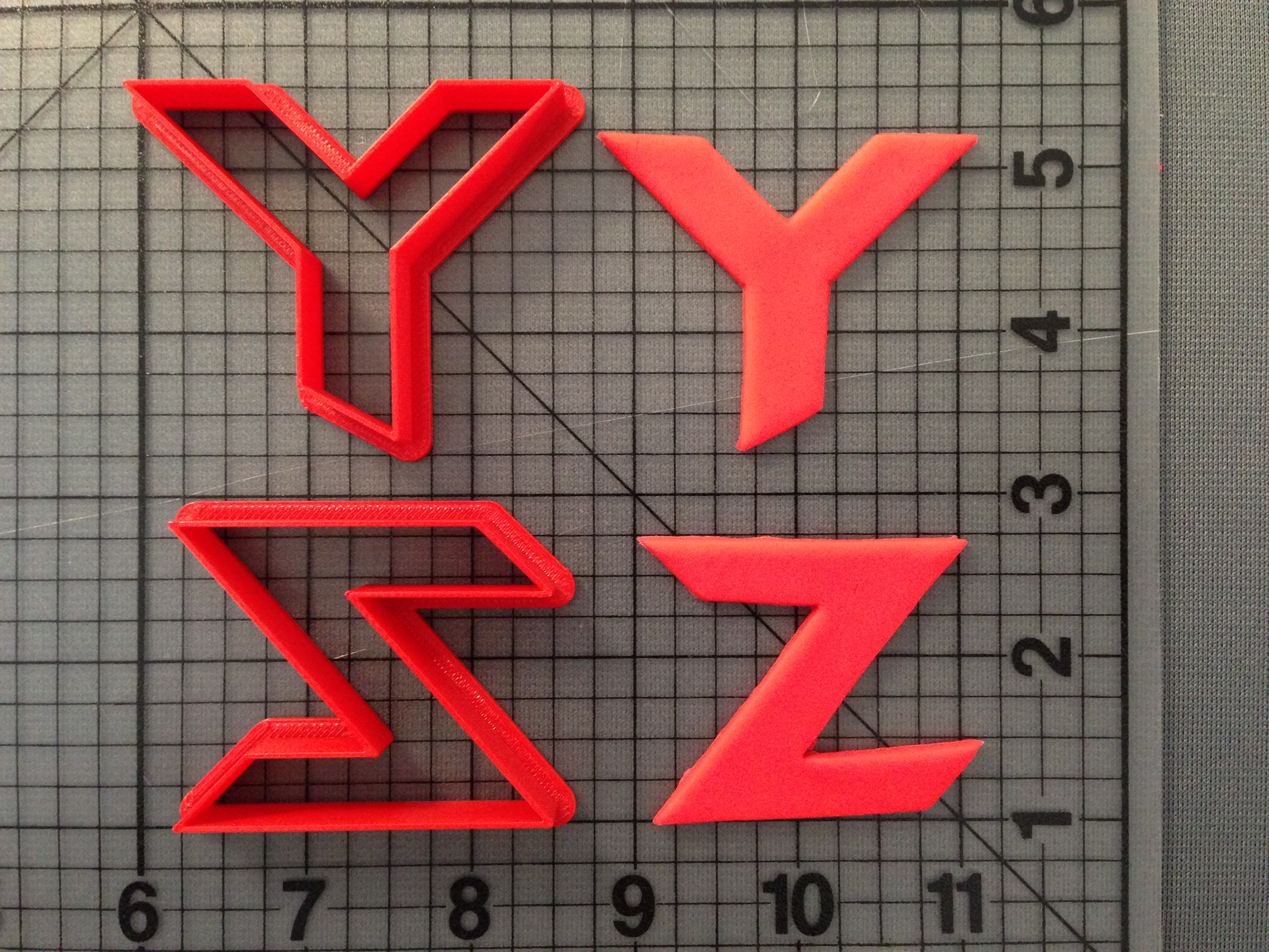 """Batman Forever"" font cookie cutters Y-Z"