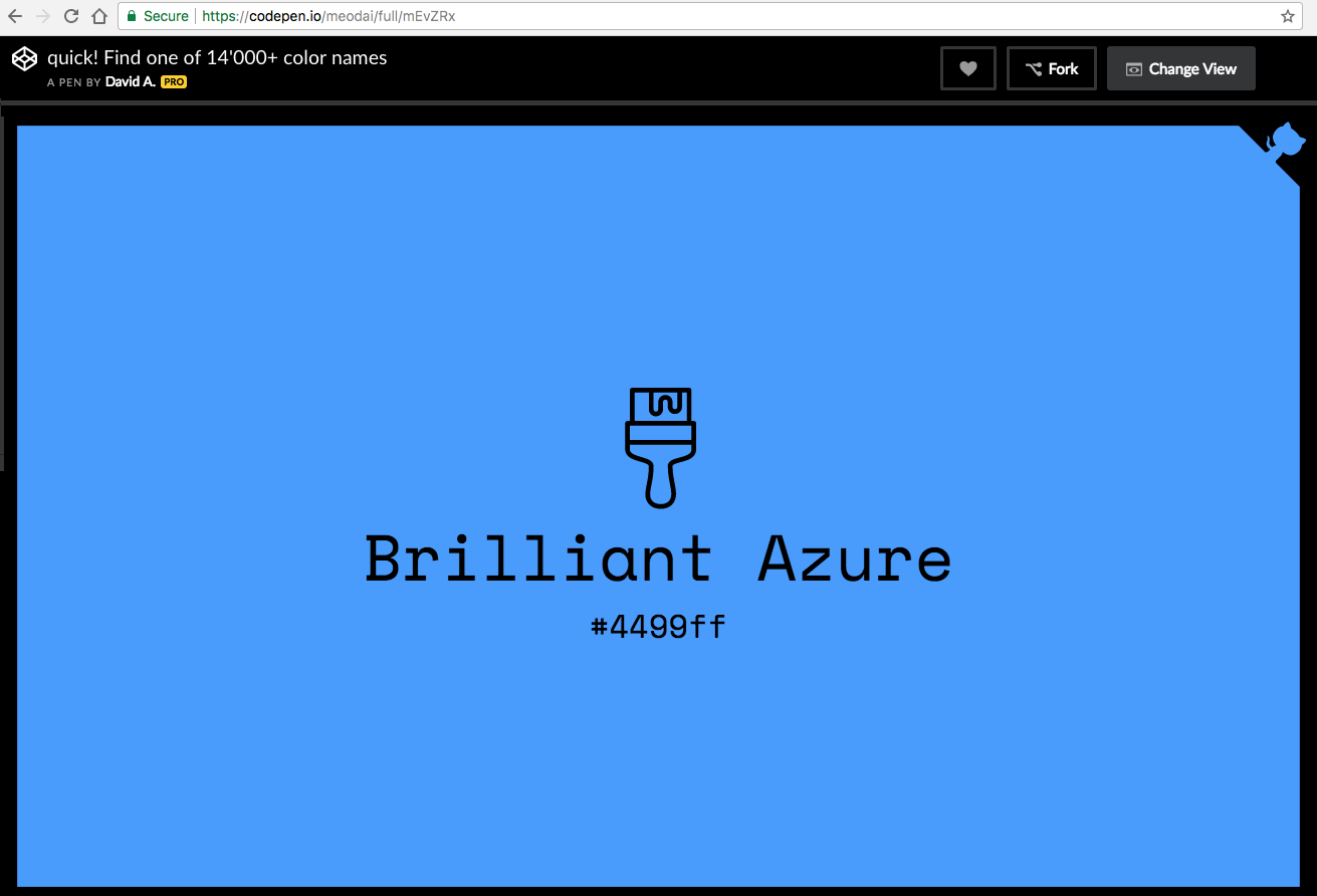CodePen: 14,000+ color names. Brilliant Azure #4499ff