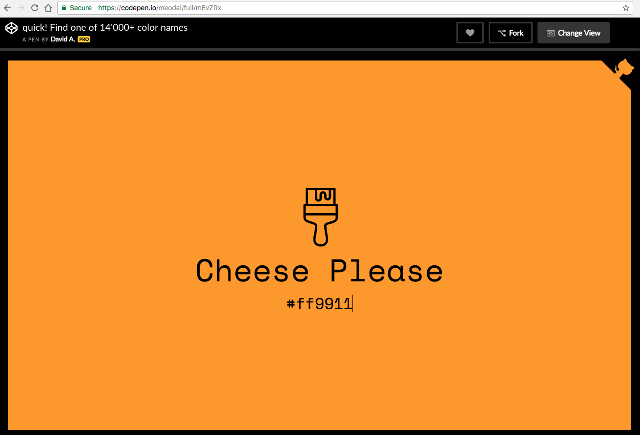 CodePen: 14,000+ color names. Cheese Please #ff9911
