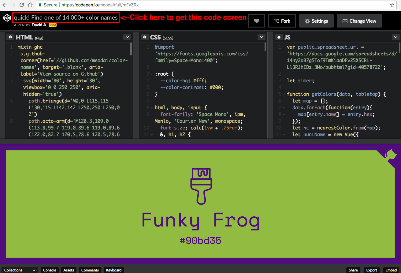 CodePen: 14,000+ color names. Funky Frog #90bd35 Plus HTML, CSS, and JS code