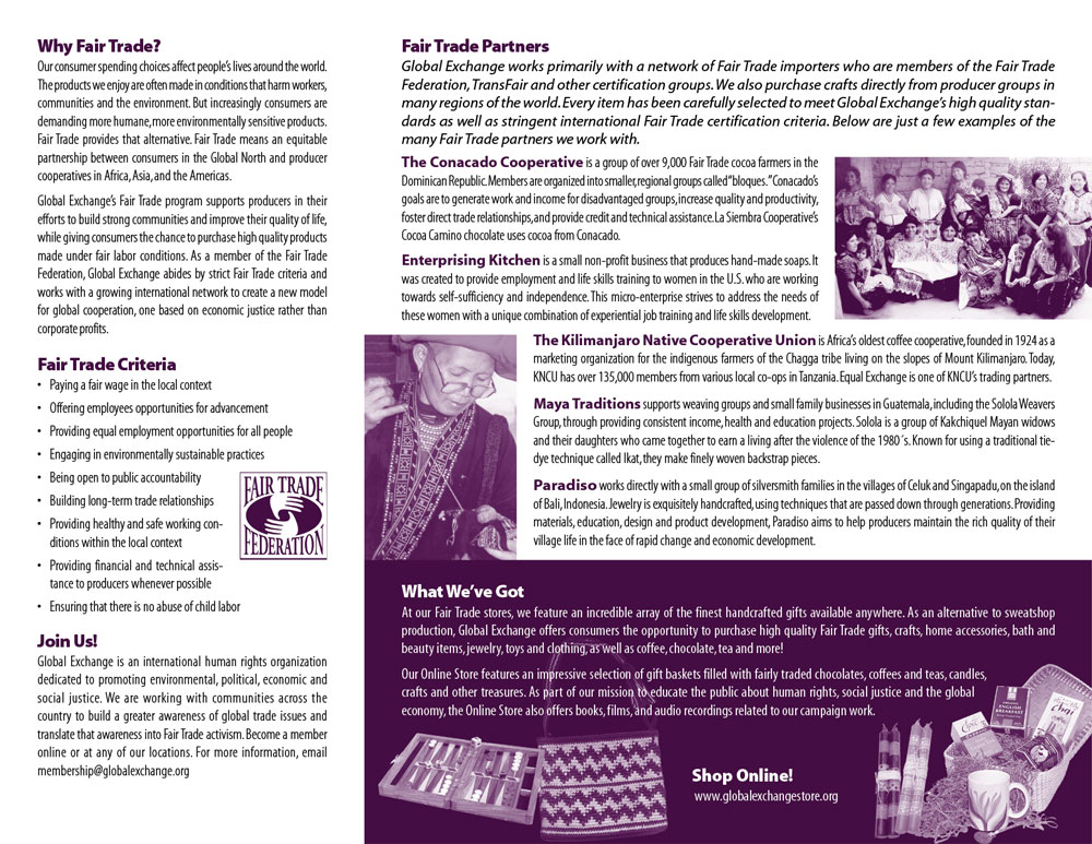 "Global Exchange ""Fair Trade"" brochure inside"