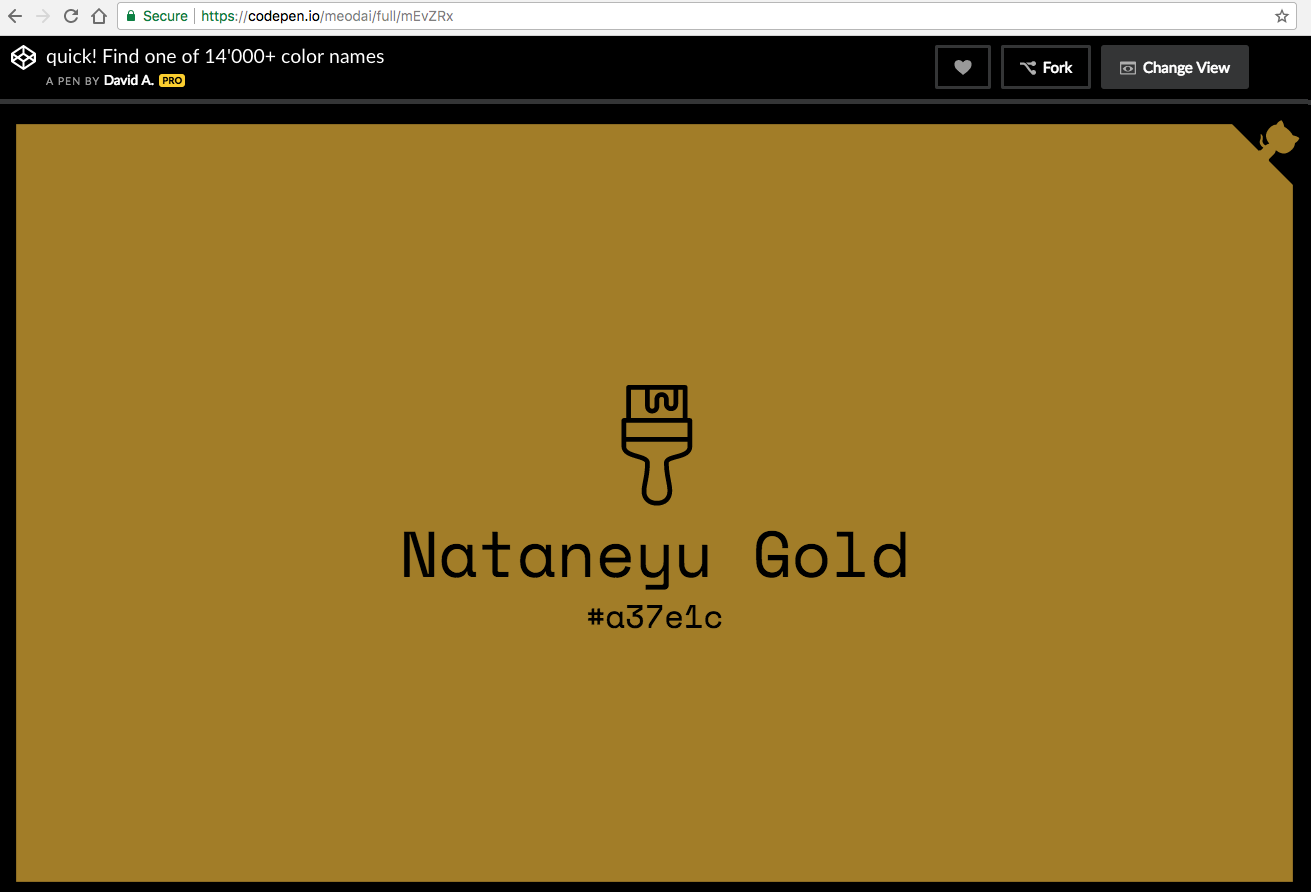 CodePen: 14,000+ color names. Nataneyu Gold #a37e1c