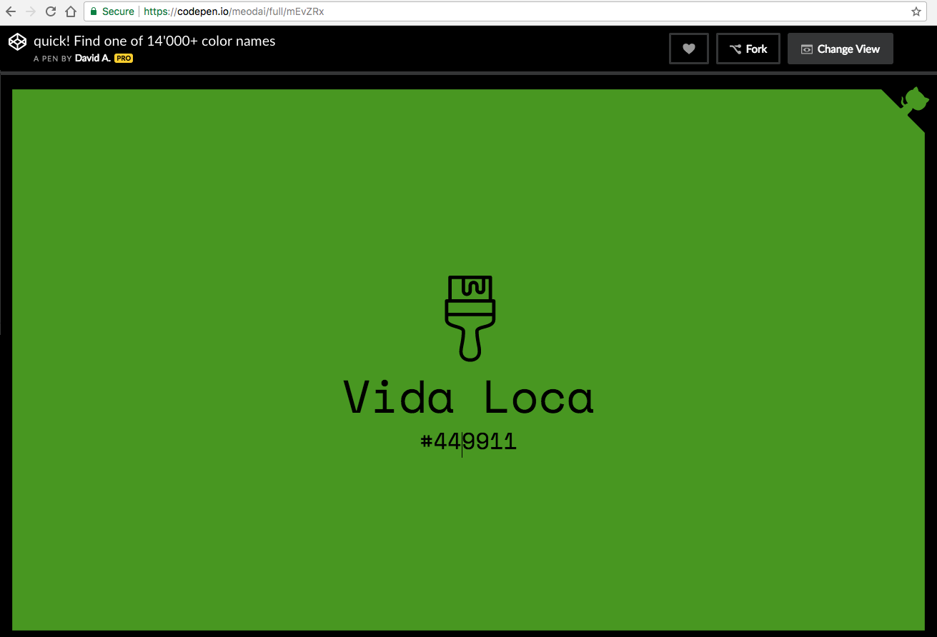 CodePen: 14,000+ color names. Vida Loca #449911