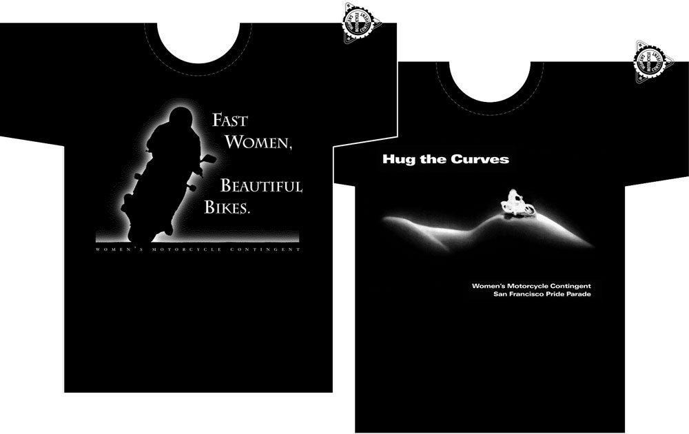"""Fast Women, Beautiful Bikes"" and ""Hug the Curves"" T-shirt mockups"