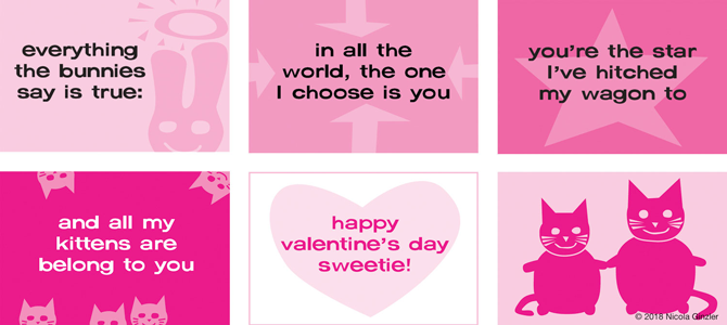 """Bound Valentine's Day booklet, 3″ x 2″. Design, text, illustration, production. """"Everything the bunnies say is true 