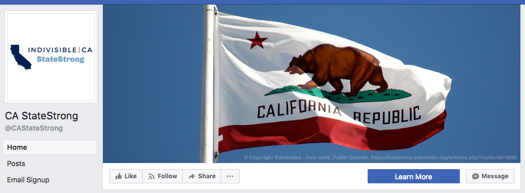Indivisible California: StateStrong Facebook header