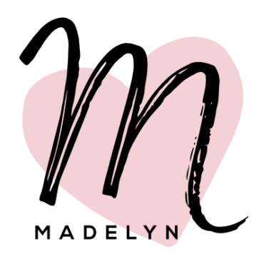 "Madelyn typeface: script ""M"" with pink heart in back"