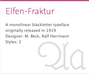 """""""Elfen-Fraktur"""" typeface"""