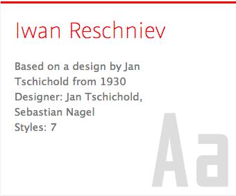 """Iwan Reschniev"" typeface"