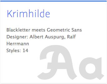 """""""Krimhilde"""" typeface"""